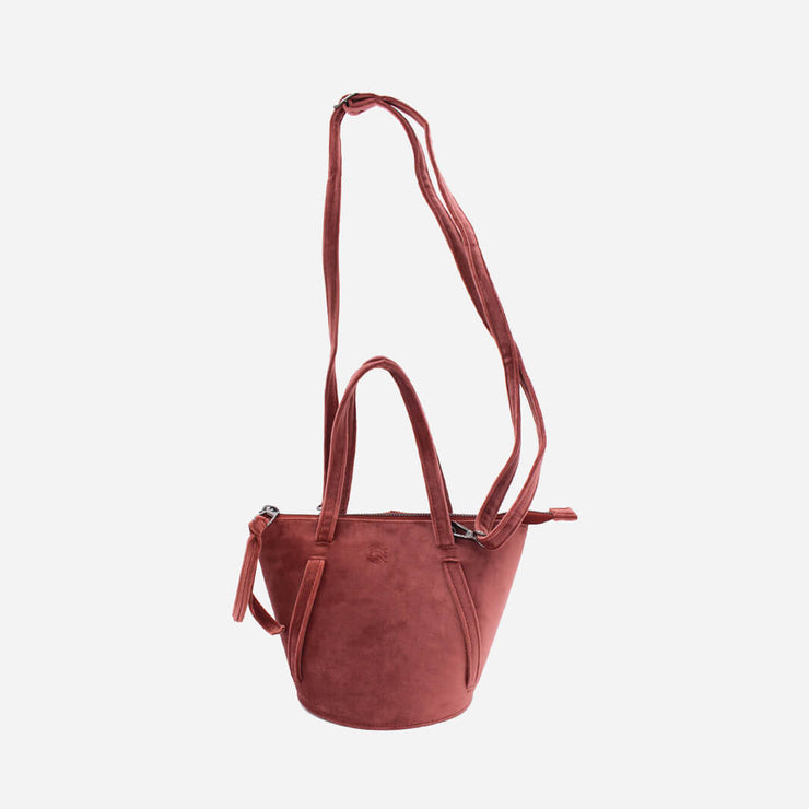 handmade bucket bag in rose velvet