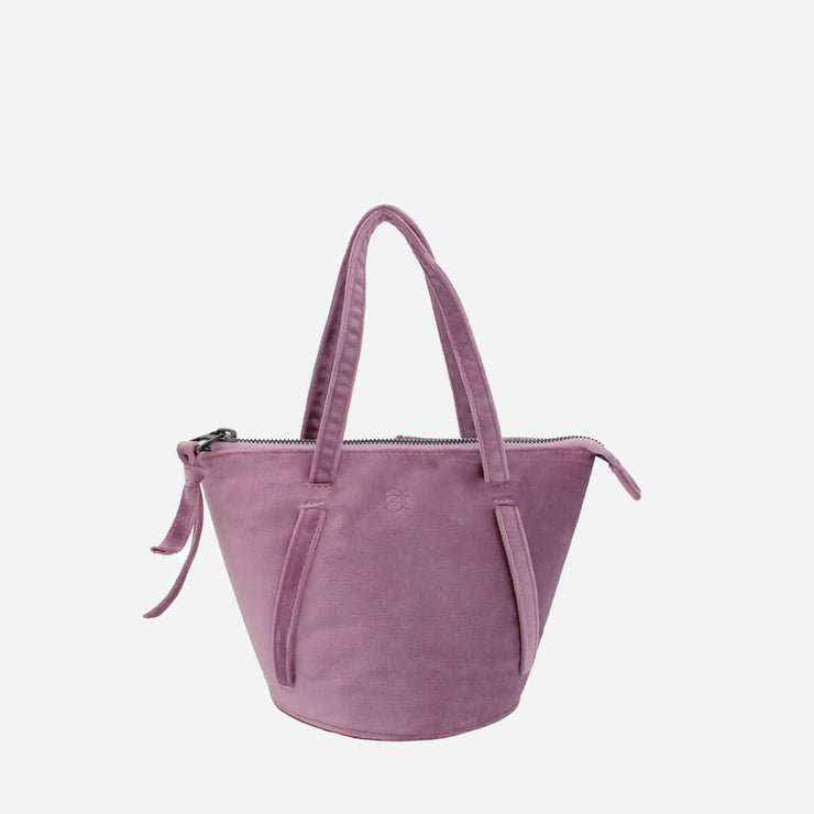 handmade bucket bag in lilac velvet
