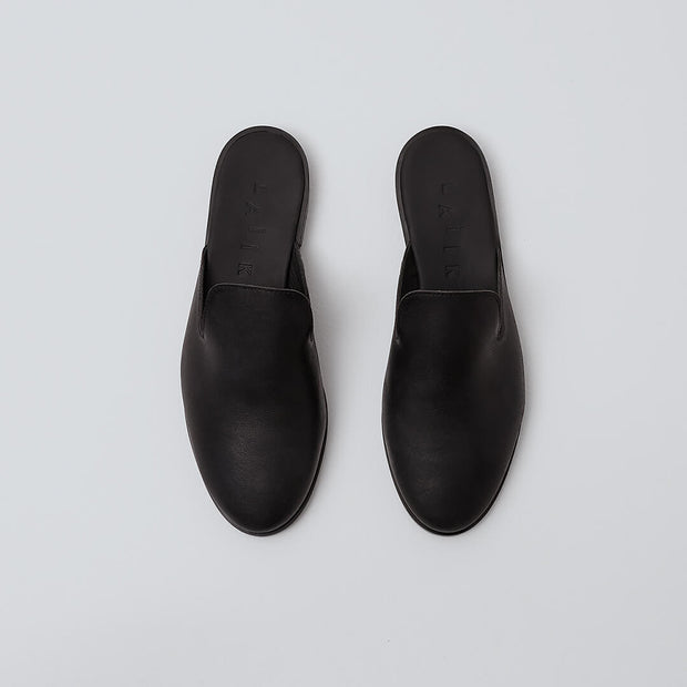 black leather mule shoe
