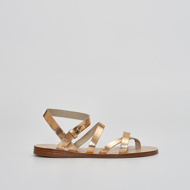 metallic gold leather sandal, gladiator