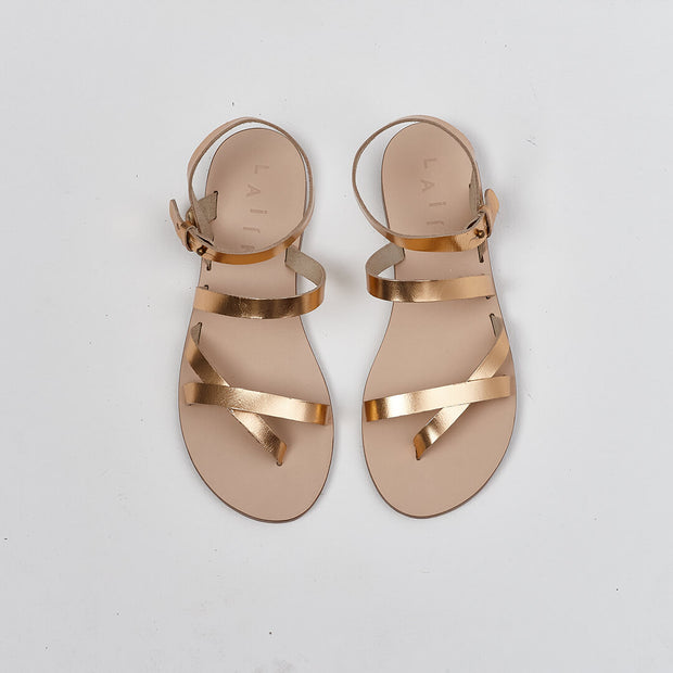 metallic gold gladiator leather sandal, made in greece