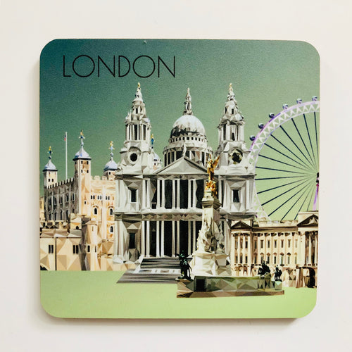 Landmarks of London Collage 10cm Square Coaster