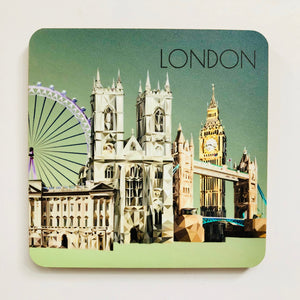 Landmarks of London 10cm Square Coaster
