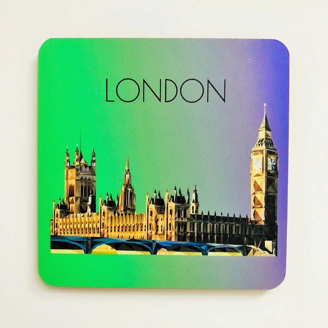 Houses of Parliament, London 10cm Square Coaster
