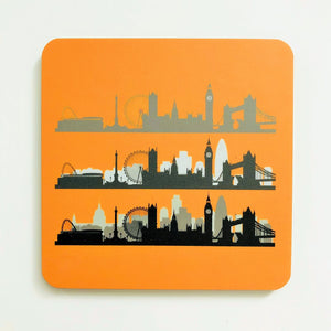 London Skyline Orange Square Coaster