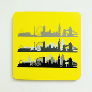 London Skyline Neon Yellow Square Coaster