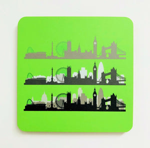 London Skyline Neon Green Square Coaster
