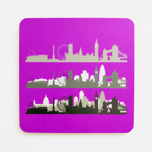 London Skyline Neon Purple Square Coaster