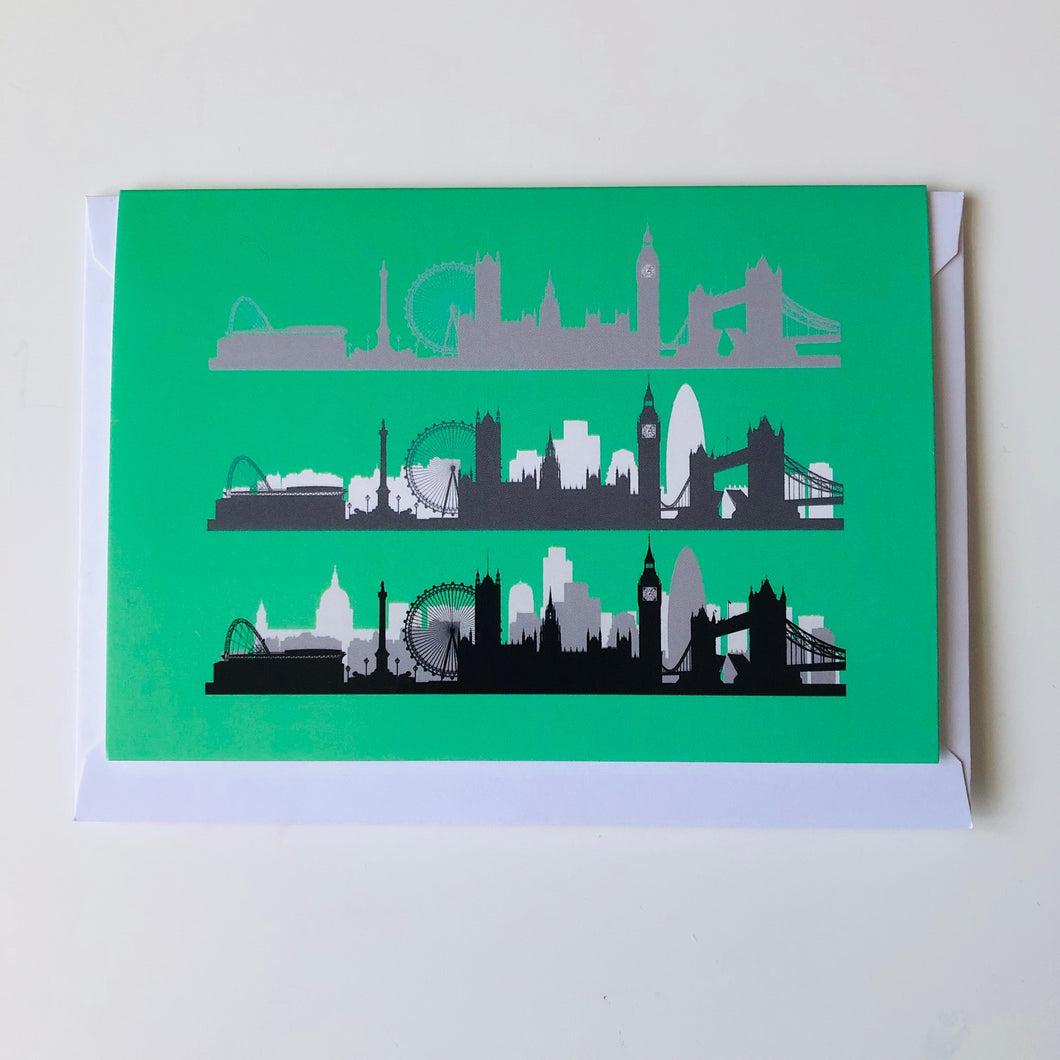 London Skyline Greeting card Turquoise background