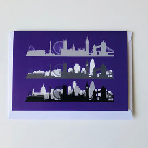 London Skyline Greeting Card - Neon purple