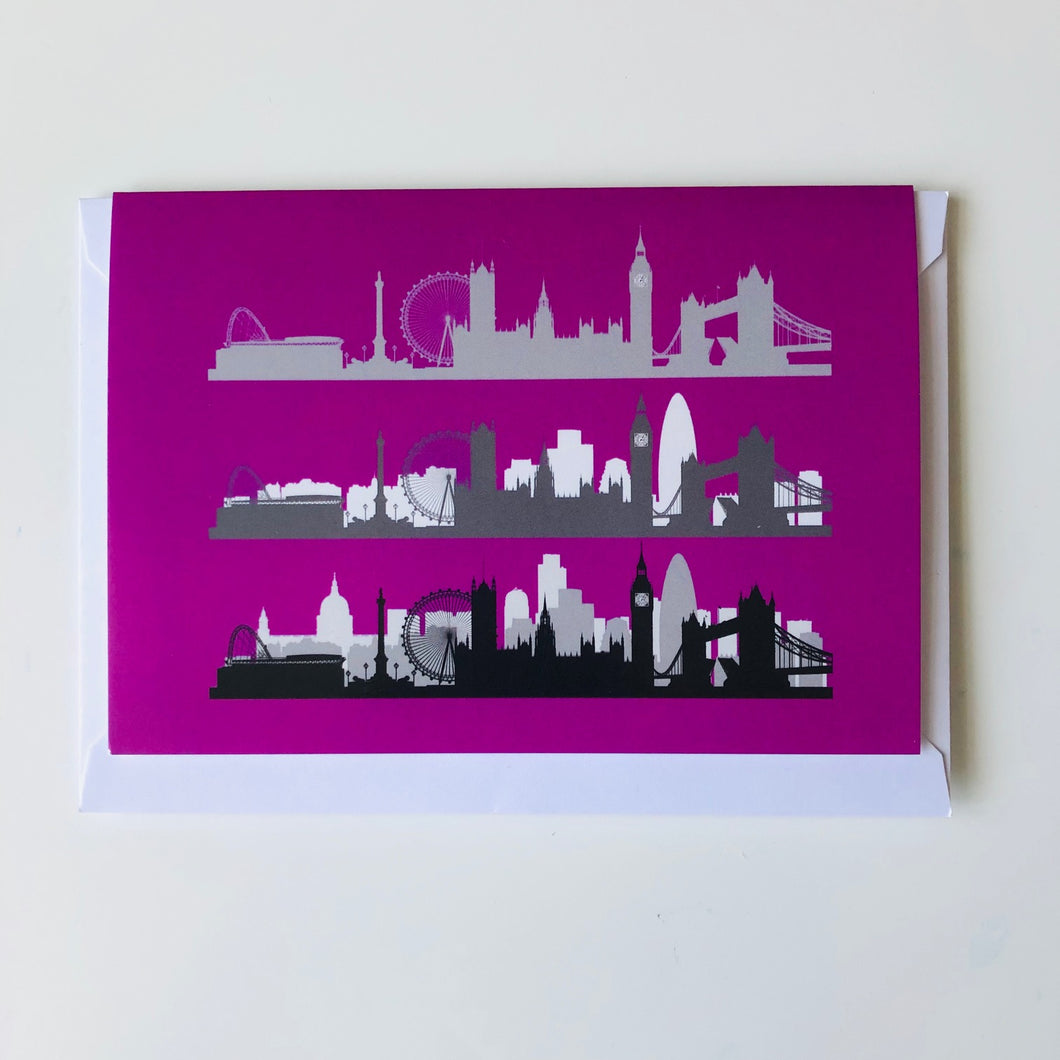 London Skyline card Neon Pink www.authentiklondon.com