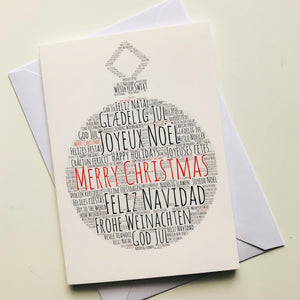 Christmas card Christmas bauble, premium Christmas card, Merry Christmas in ENGLISH, SPANISH, FRENCH, ITALIAN, PORTUGUESE, FINNISH, DANISH, ROMANIAN, POLISH, GERMAN