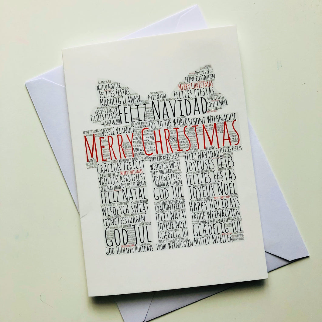 Christmas card Christmas present, premium Christmas card, Merry Christmas in ENGLISH, SPANISH, FRENCH, ITALIAN, PORTUGUESE, FINNISH, DANISH, ROMANIAN, POLISH, GERMAN
