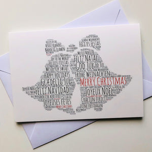 Christmas card Christmas bells, premium Christmas card, Merry Christmas in ENGLISH, SPANISH, FRENCH, ITALIAN, PORTUGUESE, FINNISH, DANISH, ROMANIAN, POLISH, GERMAN