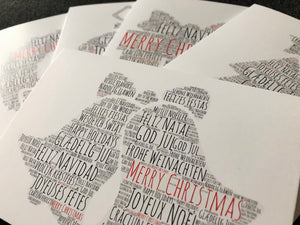 Christmas card, Christmas bells card, text card, Merry Christmas card, Christmas wishes card, made in Britain cards authentiklonodn.com