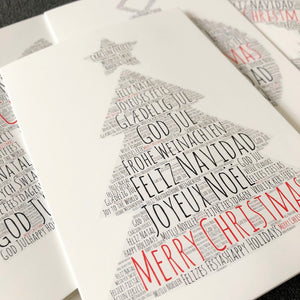 Christmas card, Christmas tree card, text card, Merry Christmas card, Christmas wishes card, made in Britain cards authentiklonodn.com