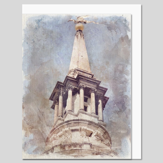 St Mary le Bow Church, City of London, watercolour greeting card