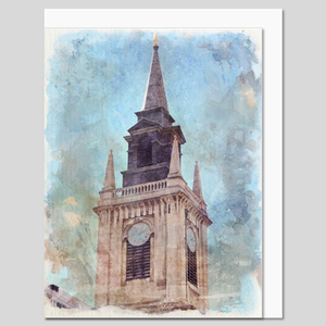 St Lawrence Jewry Church, City of London, watercolour greeting card
