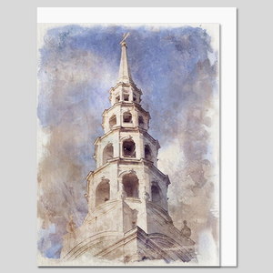 St Bride's Church, City of London, watercolour greeting card