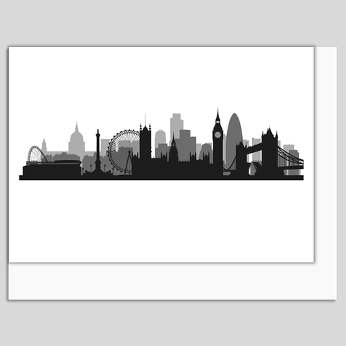 London Skyline Greeting Card, printed in Britain. Authentik London gifts and souvenirs