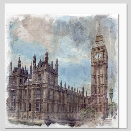 Houses of Parliament, London, watercolour greeting card