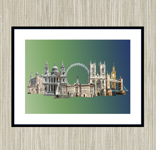 Landmarks of London Mounted print