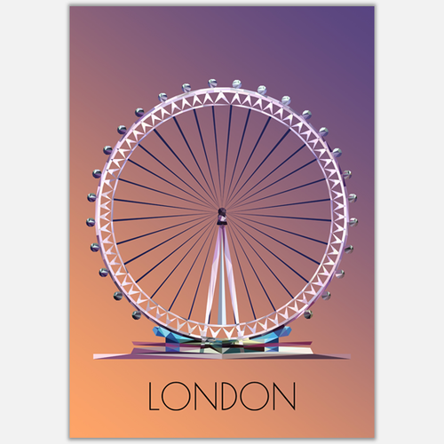 London Eye Postcard, made in the UK, Authentik London Souvenirs and Gifts