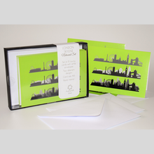 London Skyline Neon Notecard Set of 8 cards with envelopes