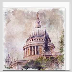 St Paul's Cathedral, London watercolour greeting card