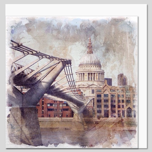 St Paul's Cathedral and the Millennium Bridge, watercolour greeting card