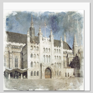 The Guildhall, City of London, watercolour greeting card