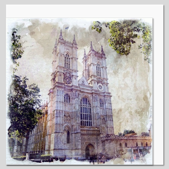 Westminster Abbey, London, watercolour greeting card