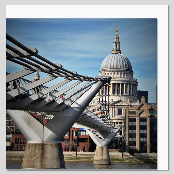 St Paul's Cathedral and the Millennium Bridge Greeting Card