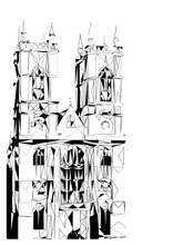 Geometric Sketch Print - Westminster Abbey, London