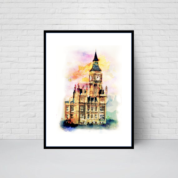 Houses of Parliament Clock Tower and Big Ben, London Print