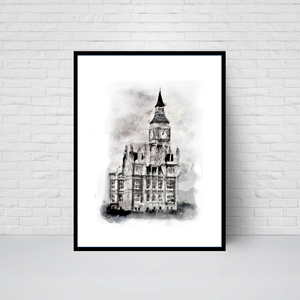 Houses of Parliament Clock Tower, London Print