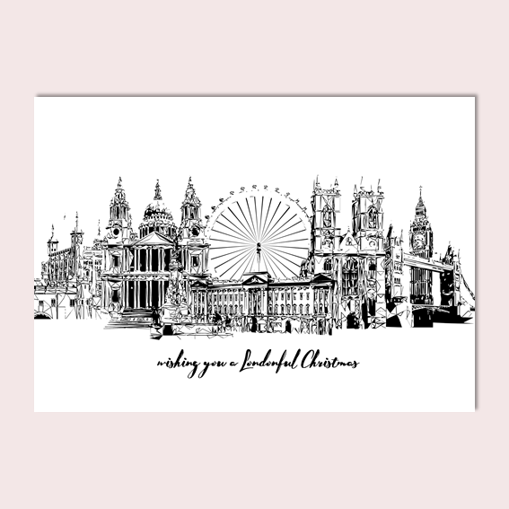 London Skyline Christmas Card, Geometric Sketch