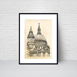 St Paul's Cathedral Garden, Front View sketch print