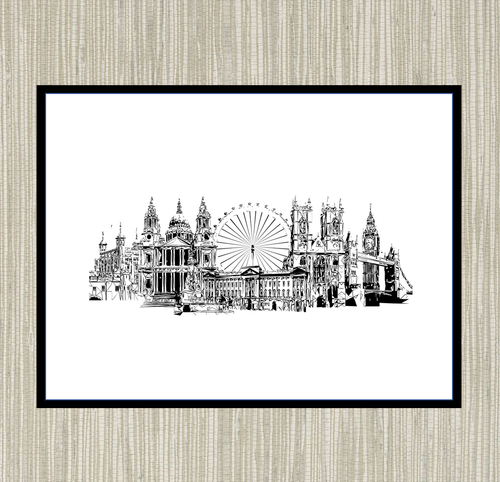 Geometric Sketch Print - London Skyline