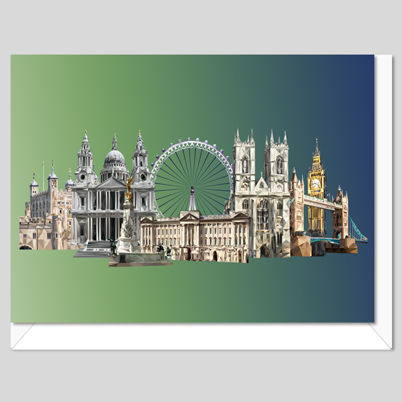 Landmarks of London Greeting card with envelope, printed in the UK, Authentik London Souvenirs and Gifts