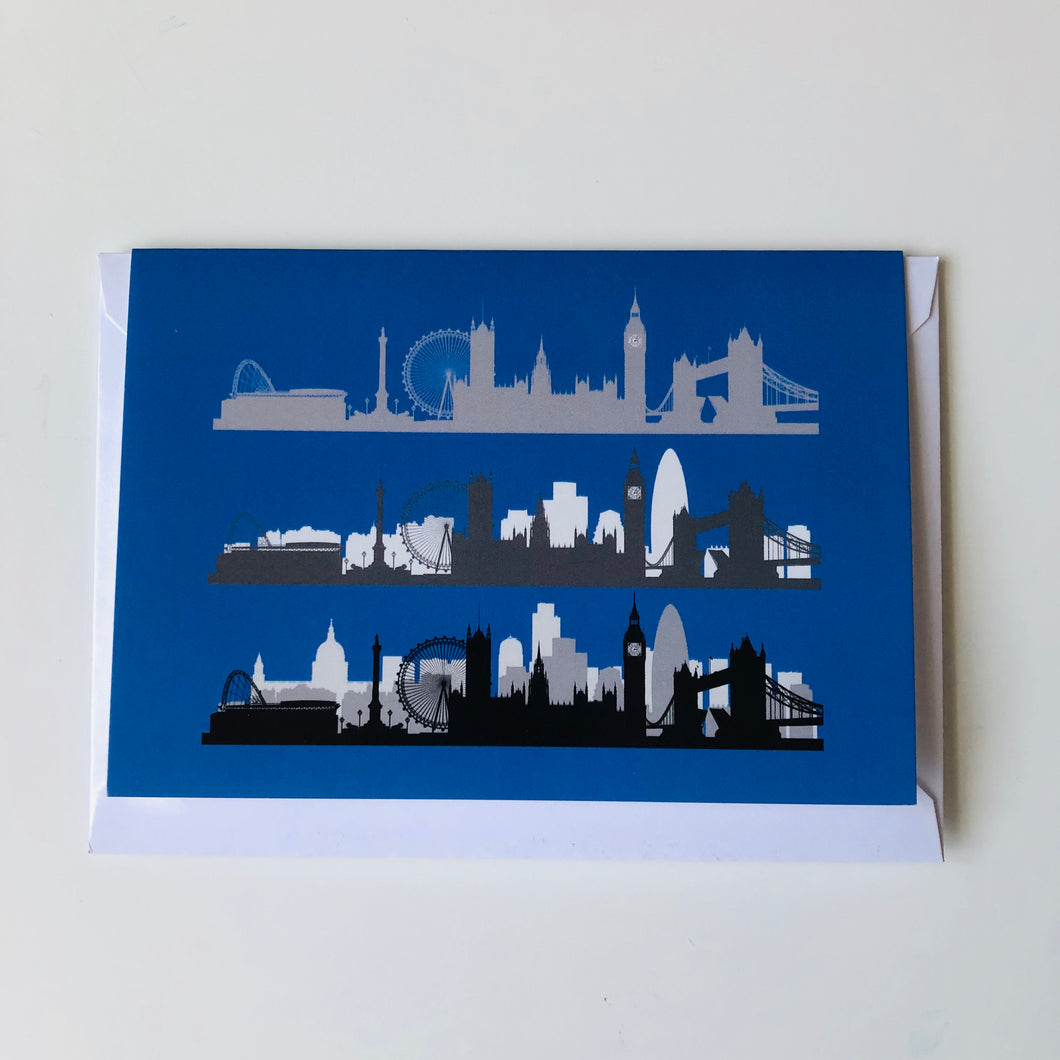 London Skyline Greeting Card Blue www.authentiklondon.com