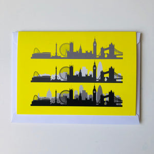 London Skyline Greeting card Neon Yellow