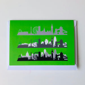 London Skyline Greeting Card Green www.authentiklondon.com