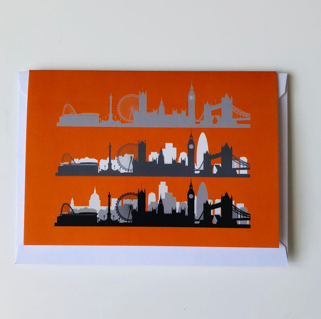 London Skyline greeting card Orange www.authentiklondon.com