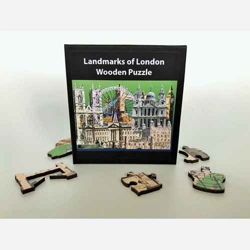 London themed wooden jigsaw puzzle made in Britain. London gifts and souvenirs authentiklondon.com