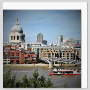 St Paul's Cathedral and Thames River Boat Greeting Card