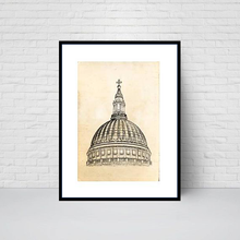 St Paul's Cathedral Dome, sketch print