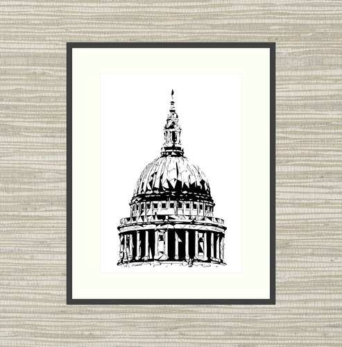 Geometric Sketch Print - St Paul's Cathedral Dome, London