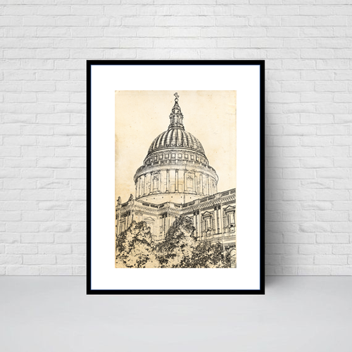 St Paul's Cathedral Garden, sketch print