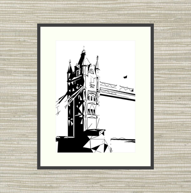 Geometric Sketch Print - Tower Bridge South, London